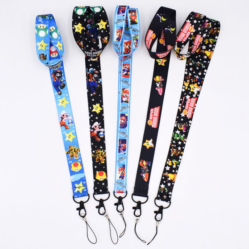 10Styles Super Mario Bros Lanyard Keys Mobile Phone Chain Neck Strap