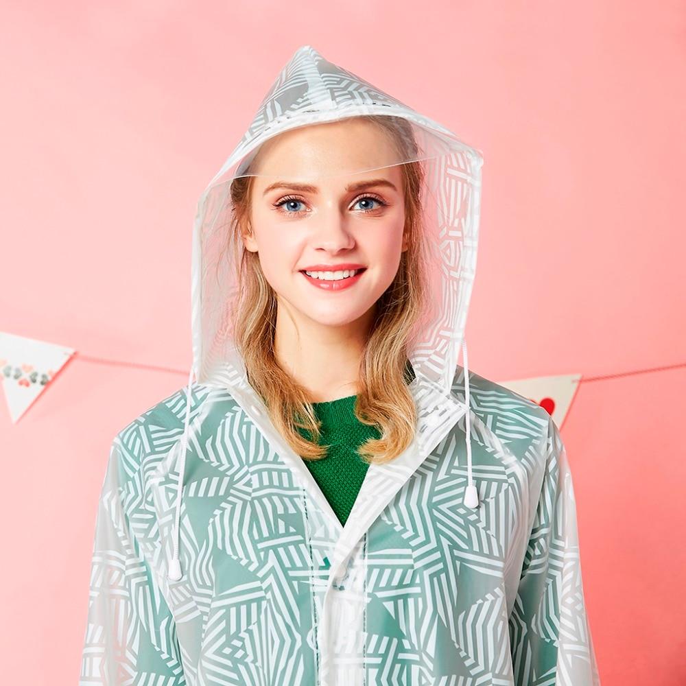 outdoor wear 100% waterproof transparent EVA foldable long woman top fashion raincoat poncho hooded
