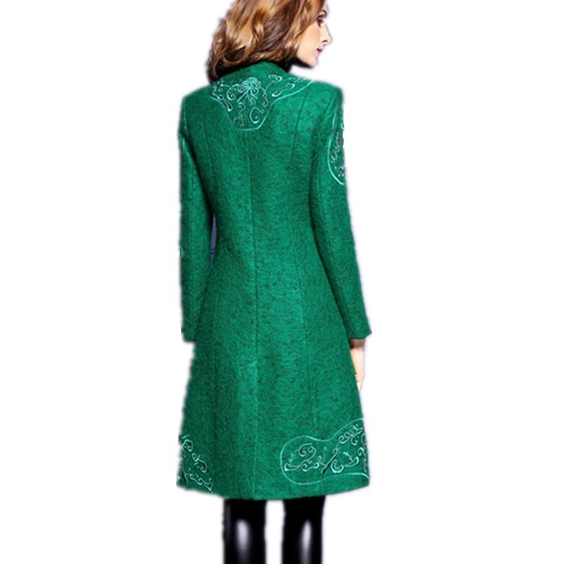 Bouton Style Veste Light Hiver Automne 2017 Lyl101 Soild Laine Femme Manteau Grey De Long Mode V green Femmes Vestes Tops Nouveau cou g6xHa