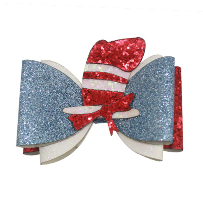 Sweet Barrettes Guitar Synthetic Leather Embroidery Hair Bow Clips Shining Hair Accessories Princess