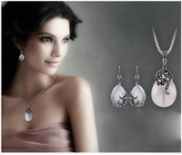 New Retro Silver Fashion Opal Water Drop Flower Pendants Long Necklaces And Drop Earrings Jewelry Sets