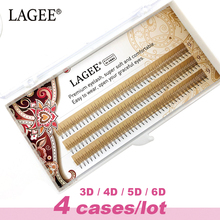 LAGEE 4 cases Eyelash Extensions 3D-6D Premade Volume fans soft and natural 0.07C Russian volume False eyelashes Make up tools