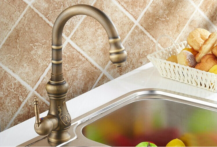 ФОТО fashion brass high quality bronze finished single lever hot and cold art carved kitchen sink faucet,basin faucet