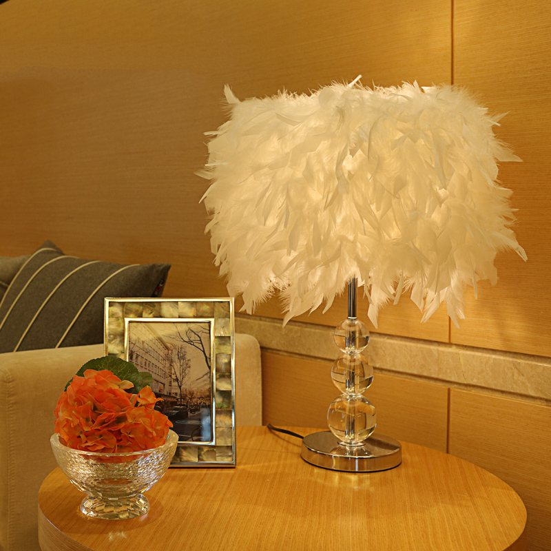 Lamp Feather Table Cozy Light Crystal Night Living Room Design New Lighting Bedroom Bedside Creative Romantic Wedding Lamps fumat stained glass table lamp high quality goddess lamp art collect creative home docor table lamp living room light fixtures