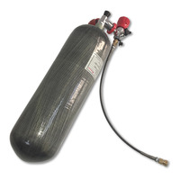 New 6.8L 4500psi Paintball Tank SCBA Air Cylinder color for PCP Rifle Hunting+red gauge valve+filling station