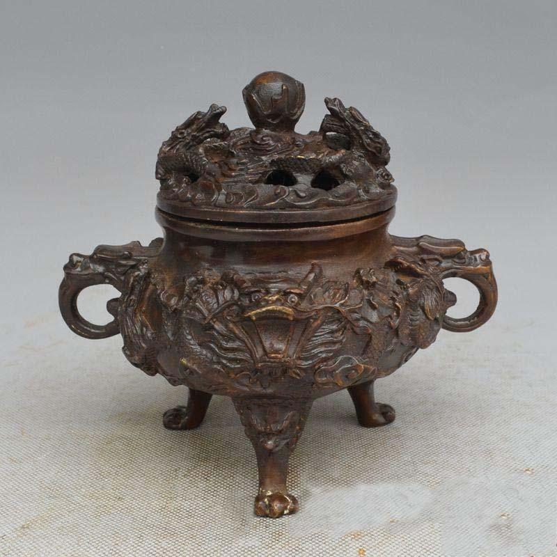 6 Inch China Red copper carved nine dragon Incense Burner Sculpture Statue