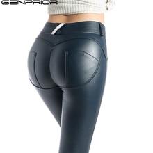 Genprior桃プッシュアップヒップスキニーpuレザーパンツ女性高弾性フィットネスレギンス運動ズボン鉛筆のズボン