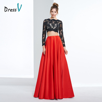 Dressv black&red long prom dress a line appliques long sleeves lace formal party dress scalloped elegant evening prom dresses