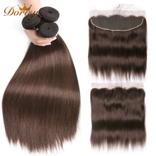 Malaysia Straight Human Hair Bundles With Lace Frontal Brown Bundles With Frontal Dorisy 4# Non Remy Human Hair Extensions
