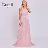 Tanpell Long A Line Evening Dress Pink Scoop Neck Sleeveless Floor Length Sweep Train Gown Women