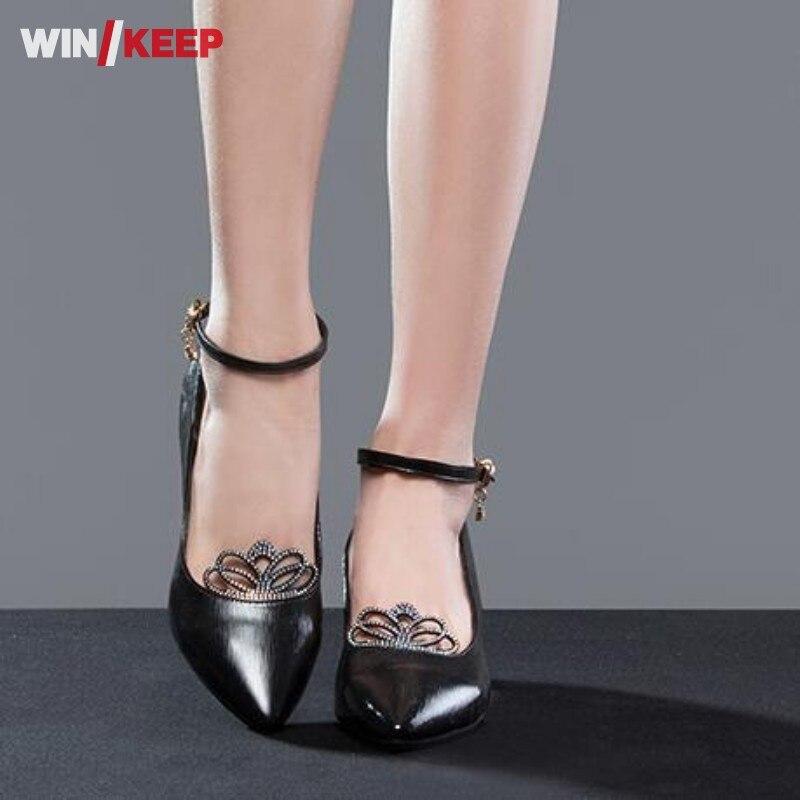 Women Ladies Ballroom Latin Dance font b Shoes b font Soft sole Mid Heeled Dancing Pointed
