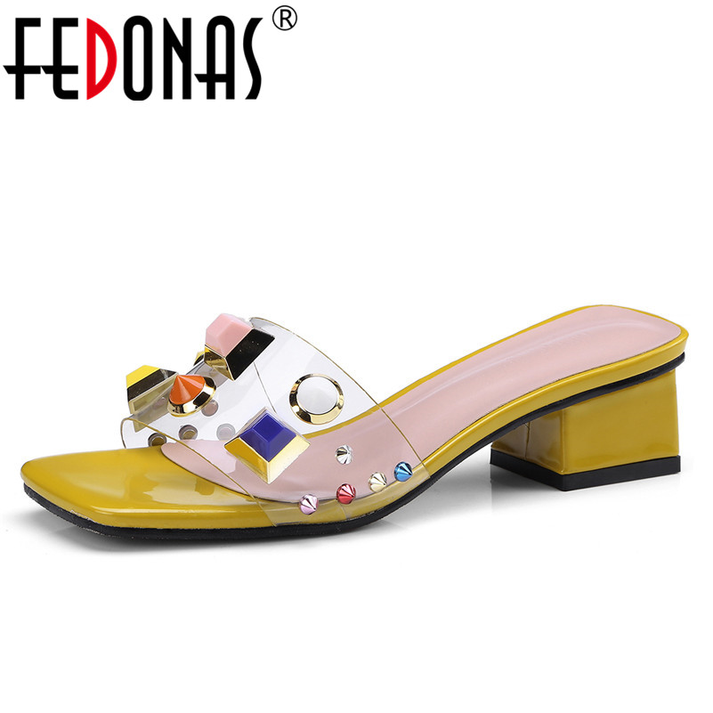 FEDONAS Women Sandals Transparent High Heel Pumps Stilettos Comfort Wedding Dress Shoes Woman Summer Colorful Rivets