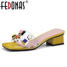 FEDONAS Women Sandals Transparent High Heel Pumps Stilettos Comfort Wedding Dress Shoes Woman Summer Colorful Rivets Slippers
