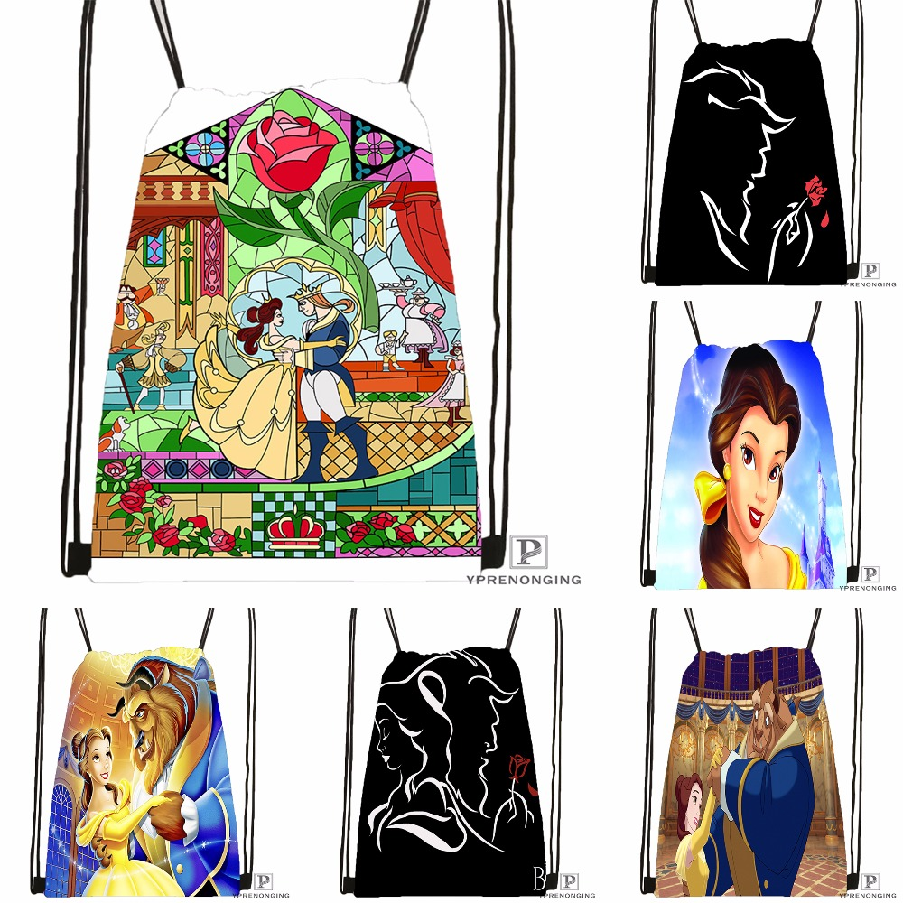 Custom Beauty And The Beast Drawstring Backpack Bag Cute Daypack Kids Satchel (Black Back) 31x40cm#180531-02-18