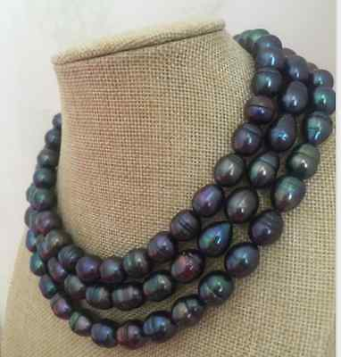 single strand 11-12mm tahitian black green red baroque pearl necklace 48 >Selling jewerly free shipping