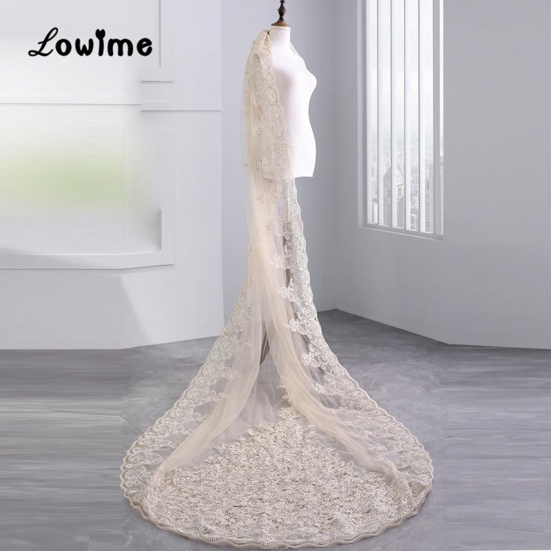 Sequined Applique Champagne Bridal Veils Wedding Accessories Stunning Wedding Veil Voile De Mariee Cathedral Wedding Veils
