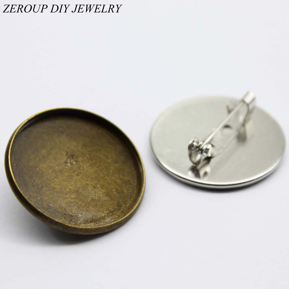 ZEROUP 10pcs Antique Bronze White K Plated Brooch Base Brooch Settings Base Glass Cabochon Tray Supplies for Jewelry
