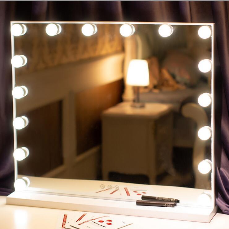 Vanità di Hollywood Luce Trucco Spogliatoio Set Da Tavola Specchi con Dimmer 3 Luce di colore Specchio Cosmetico Regolabile Touch Screen