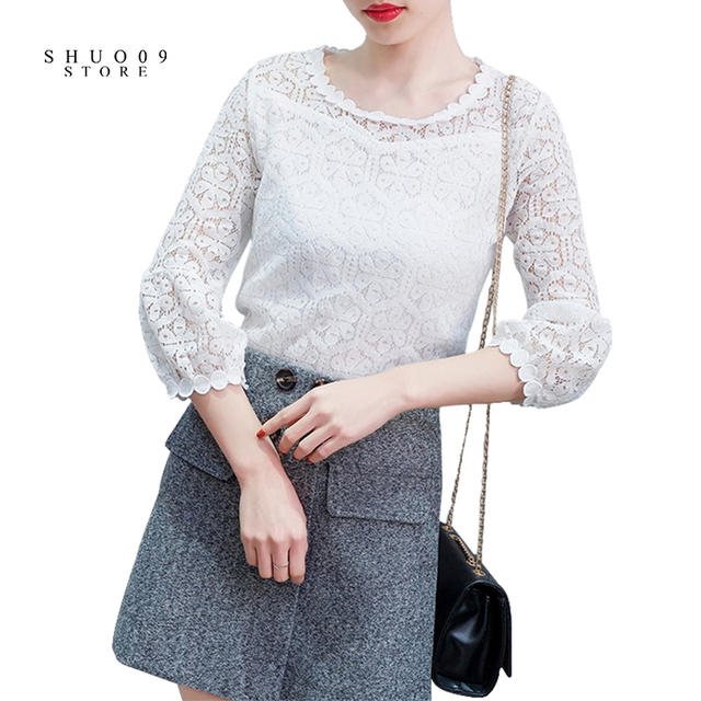 2018 Spring Autumn Women Fashion Lace Floral Patchwork Blouse Long Sleeve Shirts Hollow Out Casual Tops Plus Size XXL Pullovers 1