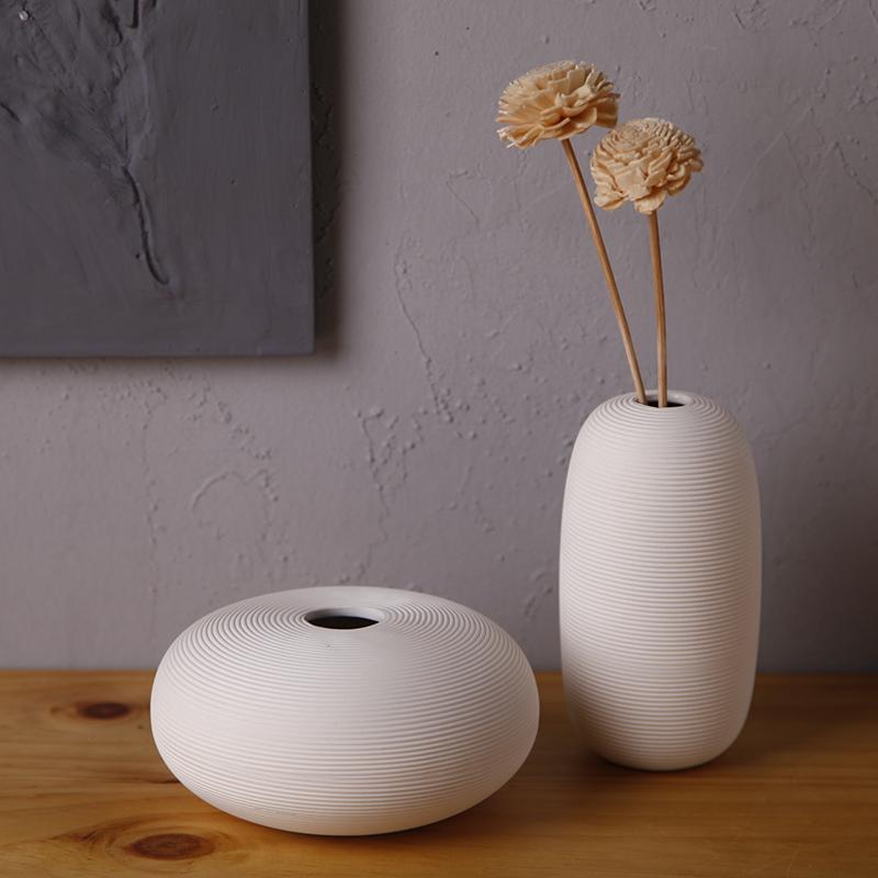 unids moderna elegante helicoide oblato jarrn de porcelana redondo grande blanca jarrn de china decoracin