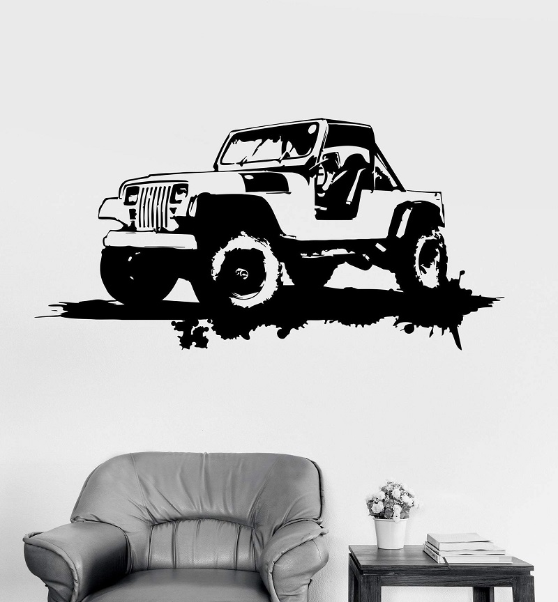 Vinyl Wall Decal Military Car Garage Decor Grunge Art Stickers Unique Gift 2FJ42-in Wall Stickers from Home & Garden
