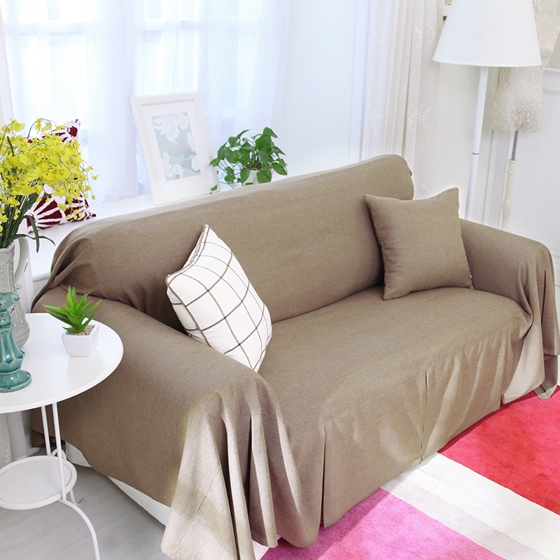 Solid Color Polyester And Linen Sofa Cover Slip Resistant