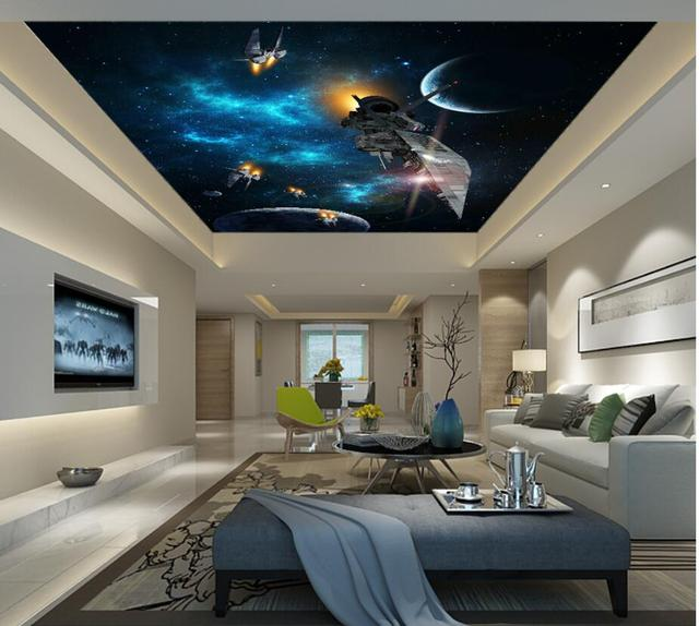 Custom Photo Ceiling Murals Wallpaper Universe Planet Eship Home Decor Living Room Wall