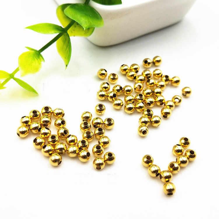100 pces 2/2. 4/3/4mm contas redondas de metal de aço inoxidável grânulos espaçador de ouro diy grânulo solto para fazer jóias diy