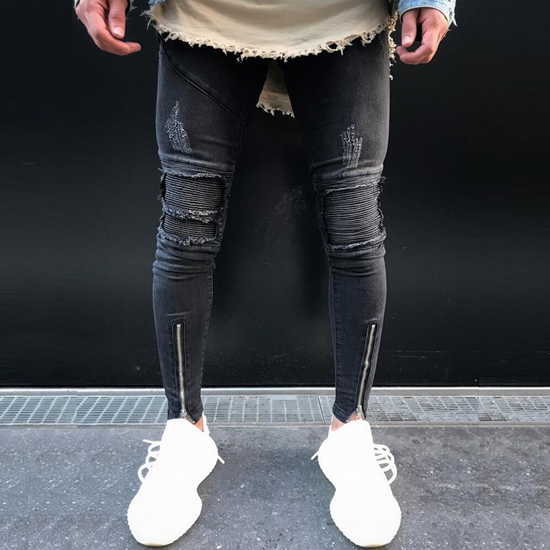 Hip Hop Bottom Ankle Zipper Slim Distressed Denim Pants Mens Ripped Biker Jeans destroyed torn pleated Trousers mens casual elastic ripped drape denim hip hop slim fit distressed biker jeans pants black straight pencil trousers multi zipper