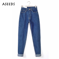 2017 Vintage Women High Waist Denim Jeans Vintage Slim Mom Style Pencil Jeans High Quality Denim
