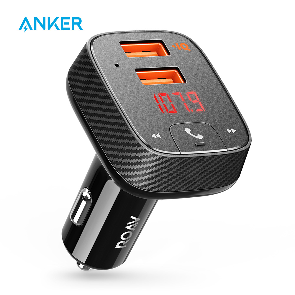 Anker Roav SmartCharge F2 FM Transmitter Bluetooth Receiver Car Charger with Bluetooth 4 2 App Support