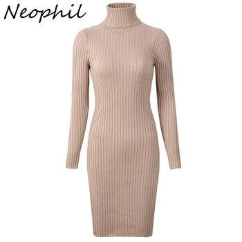 Neophil 2019 Wanita Musim Dingin Rajutan Sarung Turtle Leher Gaun Lengan Panjang Bodycon Solid Dasar Seksi Gaun Mini Vestidos D1801
