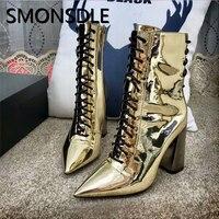 SMONSDLE новые модные дизайнерские женские ботильоны пикантные острый носок цвета: золотистый, серебристый зеркальная поверхность Для женщин