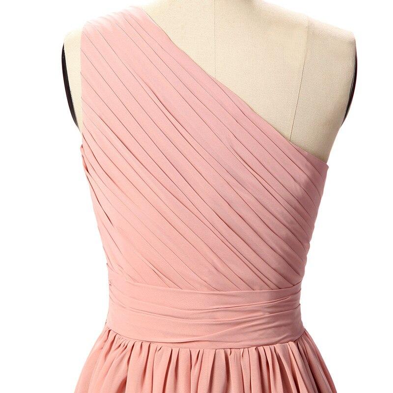 Vestido Longo Rosa largo Vestidos de dama de honor un hombro una ...