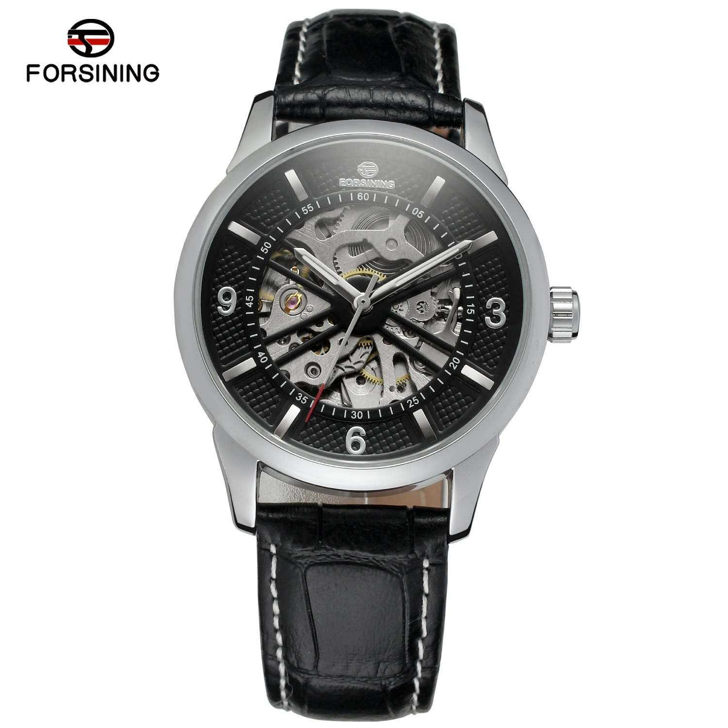 FORSINING Brand Casual Carving Dial Men Skeleton Watches relogio masculino Leather Strap Luxury Mens Mechanical Automatic Watch forsining gold hollow automatic mechanical watches men luxury brand leather strap casual vintage skeleton watch clock relogio