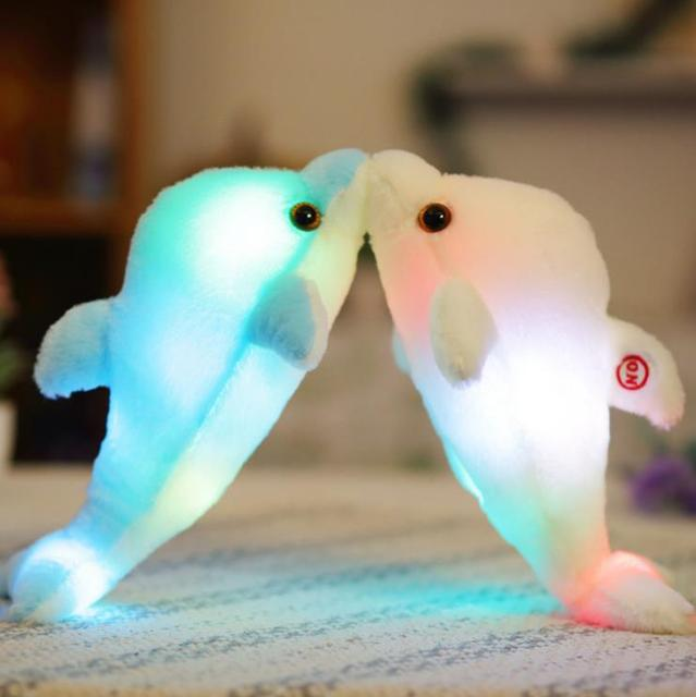 Dropshipping Free Shipping 32cm Night Glowing Dolphin Plush Toys LED  Stuffed Dolphin Soft Toys Christmas Gifts