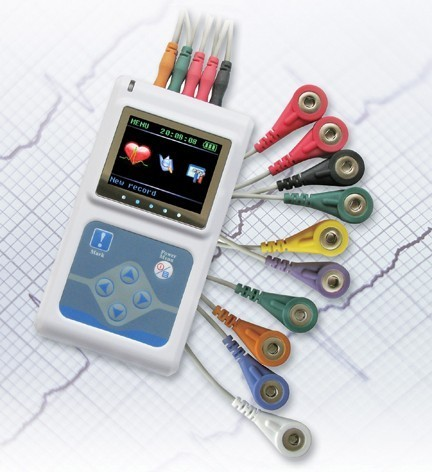 Fabricante envio gratuito de NEW 3 Canais ECG Holter Contec, Holter de ECG, ECG Monitor de Sistema, 24 horas Gravador de ECG TLC9803