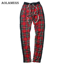 Купить с кэшбэком Aolamegs Harem Pants Scottish Plaid Side Zipper Track Joggers Straight Pants Mens Hip Hop Hit Color Block Patchwork Streetwear
