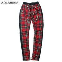 Aolamegs Harem Pants Scottish Plaid Side Zipper Track Joggers Straight Pants Mens Hip Hop Hit Color Block Patchwork Streetwear
