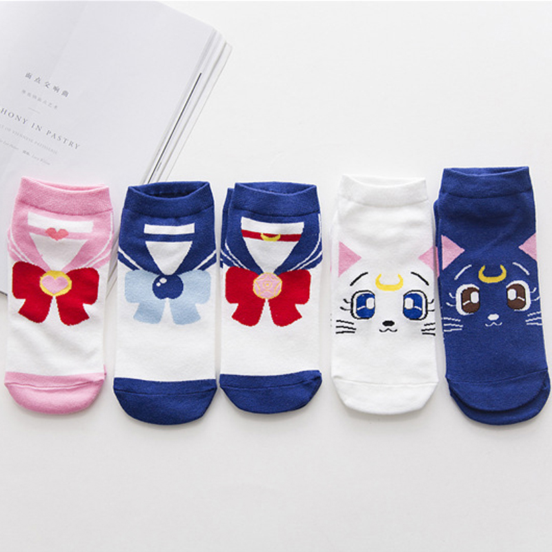 2017 New Summer Ladies Low Cut Ped Socks Personalized Creative Cotton Comfortable And Breathable Girl Luna Cartoon Short Socks
