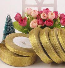 3/8 «(10 мм) 150 метров (25yards * 6 шт.) металлический блеск золота и серебра лента для Свадебные украшения и корабль оберточной
