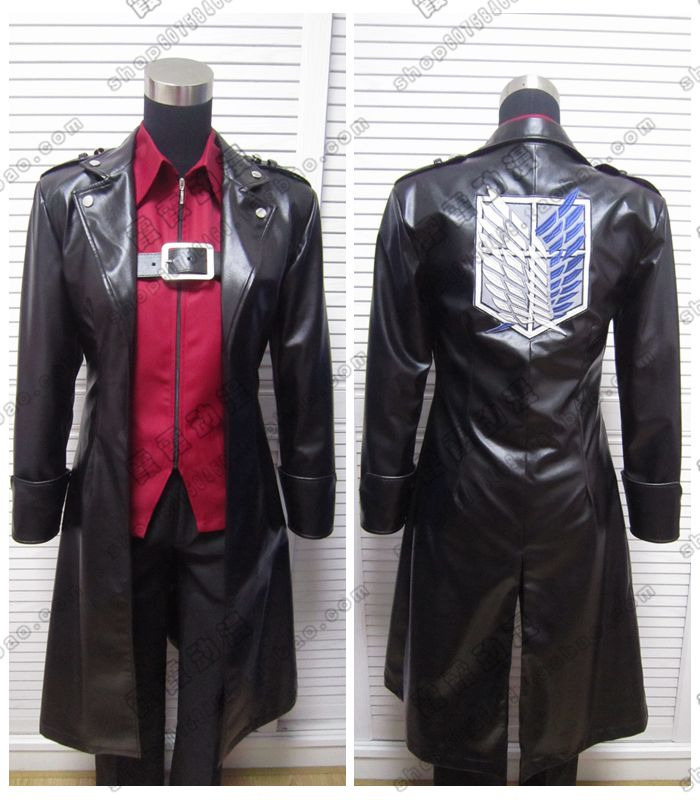 Anime! Attack on Titan Shingeki no Kyojin Levi Eren Freedom Wings Leather Cospaly Jacket Trench Free Shipping