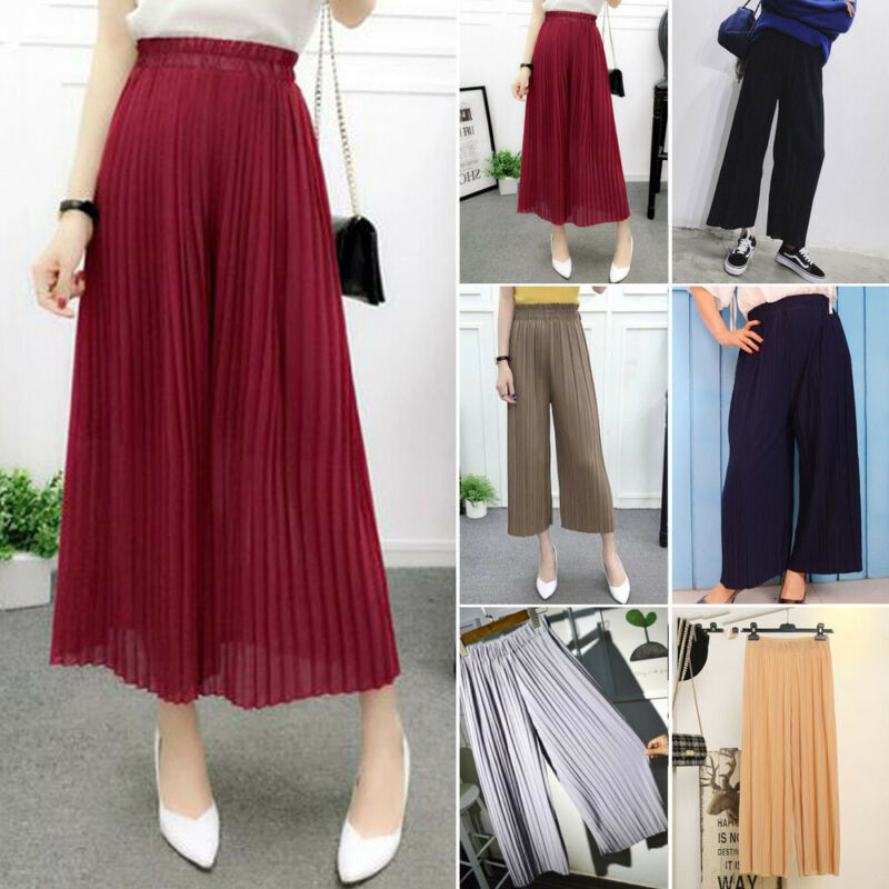 Womens Pleated Wide Leg High Elastic Waist Casual 3/4 Pants Loose Culottes Pants