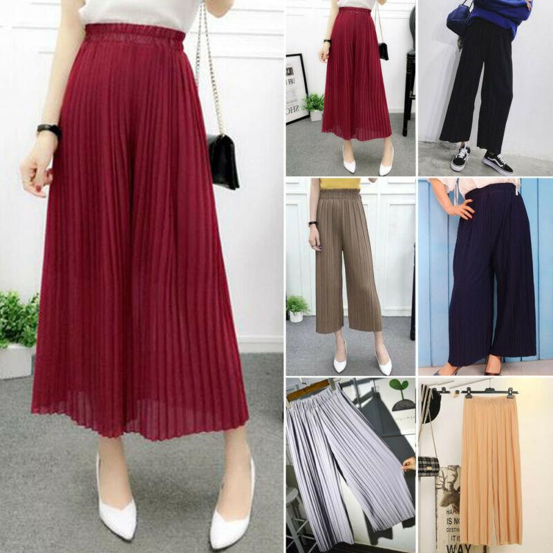 Womens Pleated   Wide     Leg   High Elastic Waist Casual 3/4   Pants   Loose Culottes   Pants