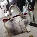 Famous designer purses and handbags 2016 winter woman snakeskin grain handbag fashion PU leather shoulder aslant handle bag 869b