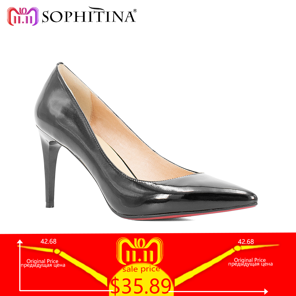 SOPHITINA Elegant Classics Pump High Thin Heels Pointed Toe Slip-on Lady Pump Solid Genuine Leather Wedding Party Career Shoe W8 new stylish designer lady high heels shoes pointed toe concise slip on office career shoes woman string metal bead shoe edge