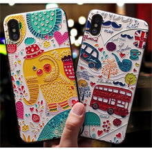 Cute 3D Cartoon Patterned Case For iPhone 7 8 6 6S Plus Cases Soft Silicone Cover For iPhone X XS Max XR 5 More Cases Phone Case недорого