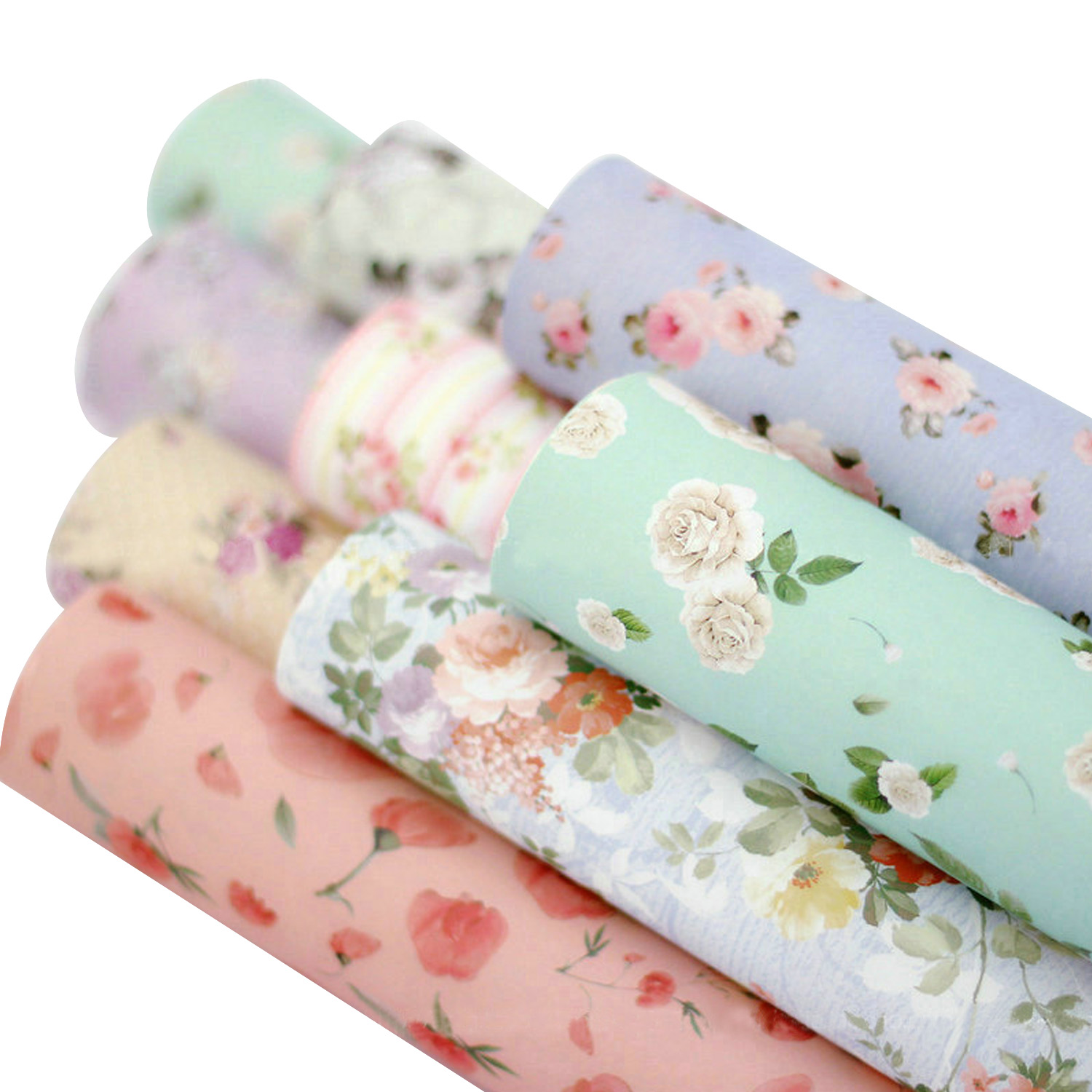 Behogar 10 Rolls Assorted Styles Lovely Flower Pattern Gift Wrapping Paper Set For Birthday Holiday Wedding New Years Valentines