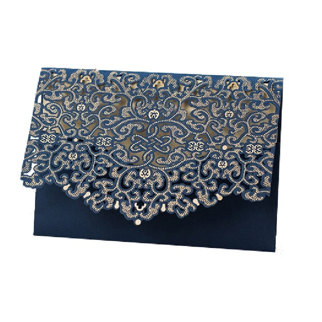 Laser Cutting Navy Blue Wedding Invitations Card Birthday Party Cards Invitation Kit Customized Color Printing Or
