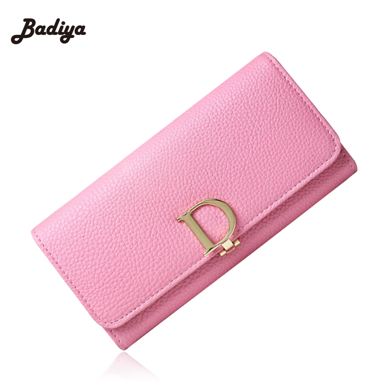 2017 New Fashion Women Wallets Famous Brand Design D Letter Ladies Clutch Purse Lovely Hand Bag  Pu Leather Carteras